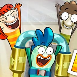 Fish Hooks: Tank Bounce - In Fish Hooks: Tank Bounce, stop bullies from catapulting fish from the tank! Use sponge platforms to bounce your fish friends into the safe tank. - logo