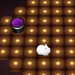 Houdini's Hat - Houdini's rabbit, Rasputin, is missing! Use magic tricks find Rasputin and bring him home. Houdini's Hat is a FREE arcade game for all ages! - logo