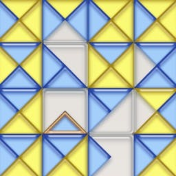Triadz - Twist your mind in a new way with the Triadz puzzle game!  Rotate and match four or more triangles of the same color to make them disappear. - logo