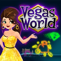 Vegas World - Travel to Vegas World where you play the wildest casino style games, party with friends,  and WIN big! Go ALL IN with Vegas World today! - logo
