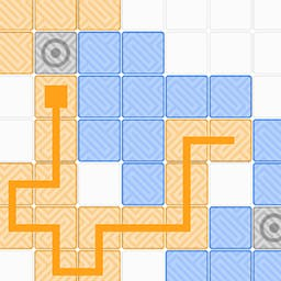 Akin - When you draw on a tile, it will change color from orange to blue or from blue to orange. You solve each puzzle, by making all tiles akin. - logo