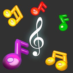 Catchy Tunes - In Catchy Tunes, musical notes bounce around the screen and you must place a treble clef so that as many notes will stick to it as possible. - logo