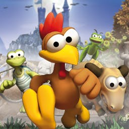 Crazy Chicken Tales - Join Moorhuhn and his friends on their greatest adventure yet in Crazy Chicken Tales! Run, jump, and ride through colorful cartoon landscapes. - logo