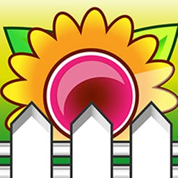 Crazy Gardens - Put on your strategy cap and create flower rows of four while sabotaging your opponent's flower plantings. Challenge your friends in Crazy Gardens! - logo