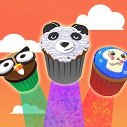 Cupcakes vs. Veggies - Toca o desliza el dedo para comerte las magdalenas en este juego arcade, pero evita las verduras. ¡Juega a Cupcakes vs. Veggies ahora! - logo