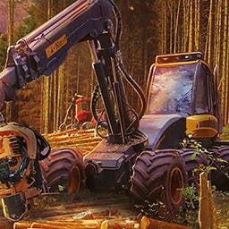 Forestry 2017 - The Simulation - Control huge machinery (harvester, trucks, tractors and crane arms), fell the trees, arrange the timber and comb through your wood. - logo