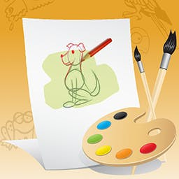 Just Color It - With 16 backgrounds, 27 drawings, and 70+ stickers, the possibilities are endless! Your child can create a masterpiece today and Just Color It! - logo