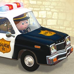 Little Boy: Oscar's Police Car - Your preschooler will take part in the excitement as Oscar chases the bank robbers in the interactive story Little Boy: Oscar's Police Car. - logo