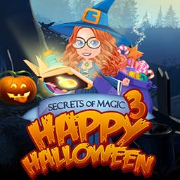 Secrets of Magic 3: Happy Halloween - Match skulls, potions, and flames in this spooky match 3 puzzle game - logo