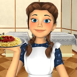 Smiling Pasta - Dish up yummy noodles in Smiling Pasta, an exciting combination of match-3 and time management gameplay. - logo