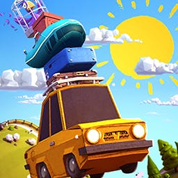 Sunny Hillride - In Sunny Hillride, you're on a crazy family vacation!  Fly down the road and jump over the bumps in this fun arcade game. - logo