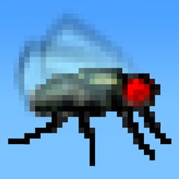 Swatty Fly - Watch out for fly swatters and frogs in this difficult arcade game. Flap those wings in Swatty Fly! - logo