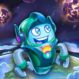 Words in Space - Words In Space is a fast-action, word spelling, and asteroid blasting game for Android! Suit up! It's time to get spelling! - logo